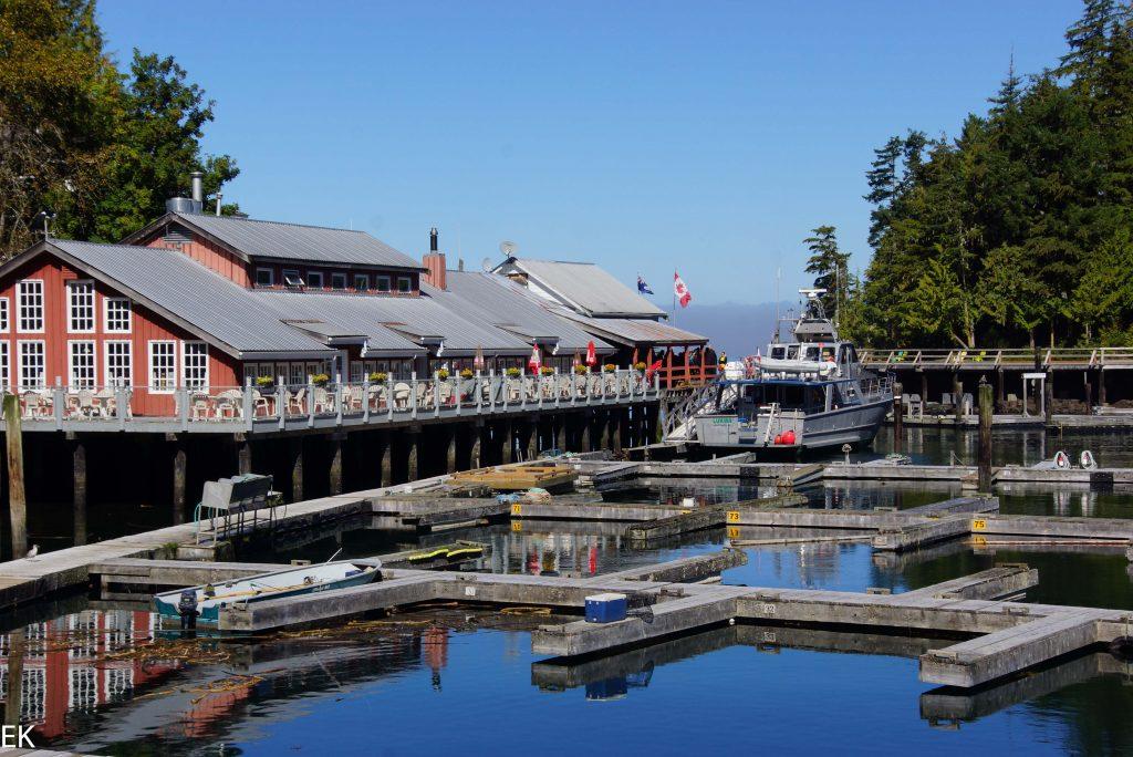"""Telegraph Cove, Hafen und """"unser"""" Boot"""