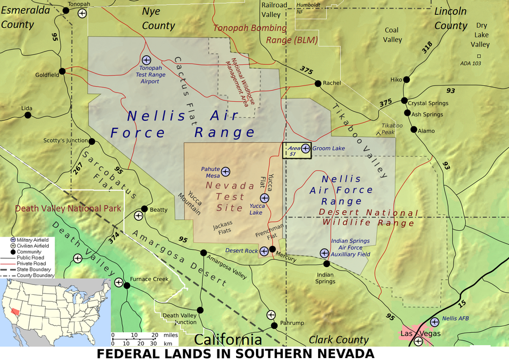 Riesiges Militärgelände nordwestlich von Las Vegas